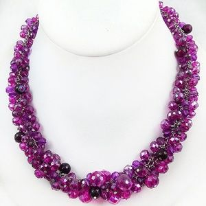 White House Black Market Fuchsia Crystal Necklace